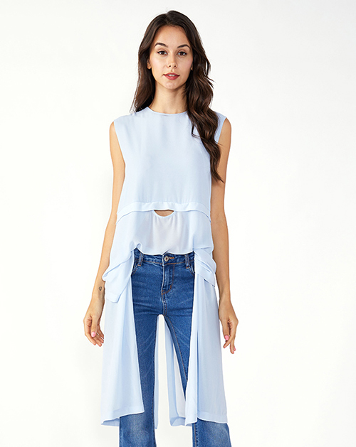 女装服装厂中长款不规则无袖雪纺上衣