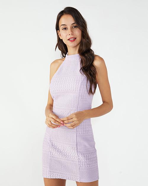 广州连衣裙厂家立领无袖修身蕾丝连衣裙