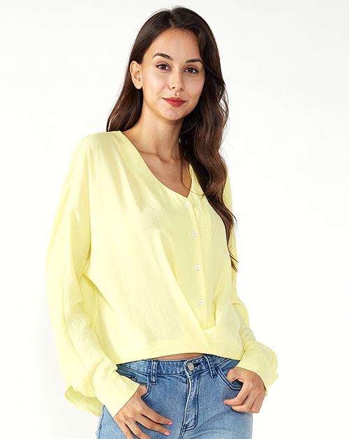 女装生产厂家V领蝙蝠袖褶皱单排扣上衣