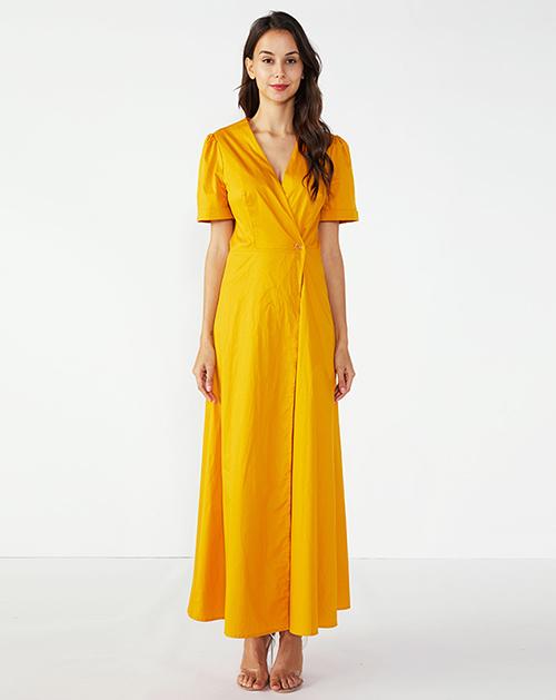 广州连衣裙厂家V领短袖纽扣连衣裙长裙