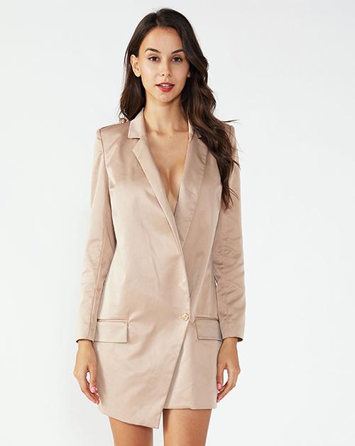女装生产厂家翻领不规则西装外套连衣裙