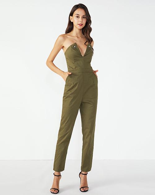 外贸服装工厂抹胸锥型收腰连体裤