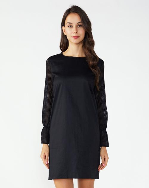 女装生产厂家欧美圆领镂空喇叭袖连衣裙