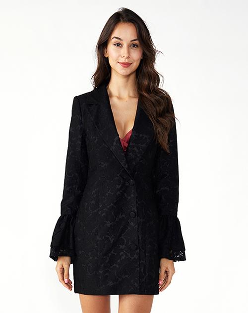 广州外贸服装厂喇叭袖蕾丝西装连衣裙