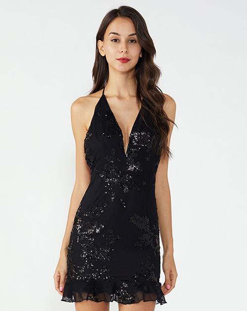女装生产厂家吊带荷叶边亮片连衣裙