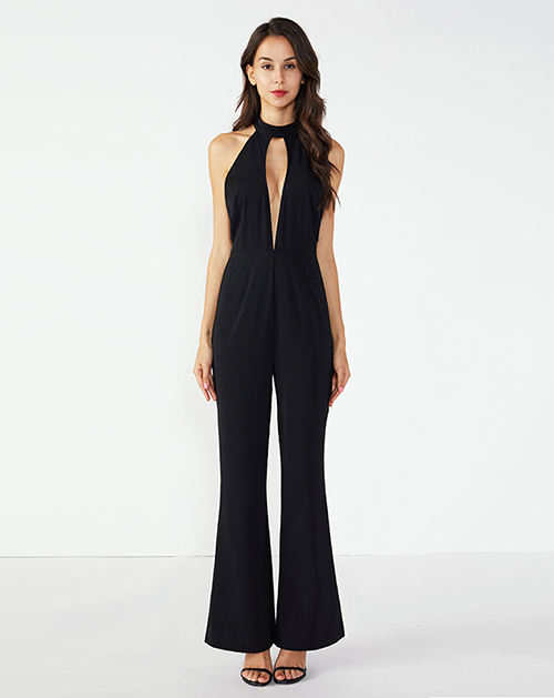 女装服装厂吊带半高领镂空连体裤喇叭裤