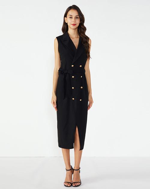 广州连衣裙厂家翻领双排扣开衩无袖西装连衣裙