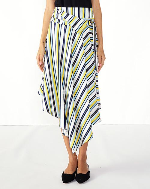 女装贴牌彩色条纹不规则腰带半身裙