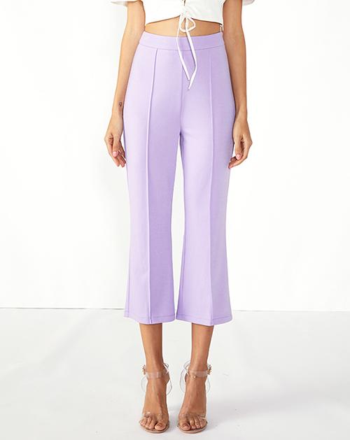 广州外贸服装厂紫色分割高腰喇叭裤