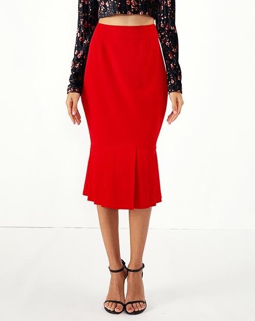 女装贴牌红色高腰百褶鱼尾半身裙