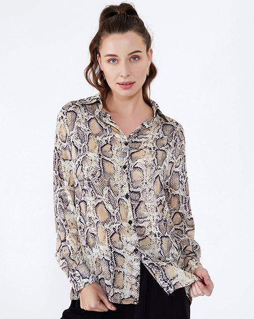 服装贴牌厂家豹纹长袖衬衫