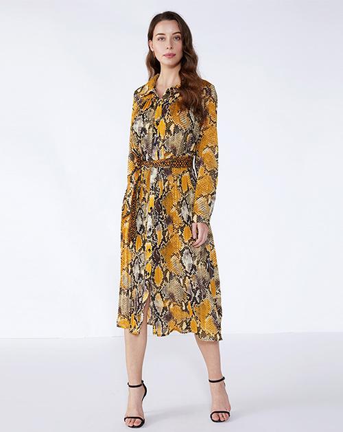 女装厂翻领长袖动物纹理印花连衣裙