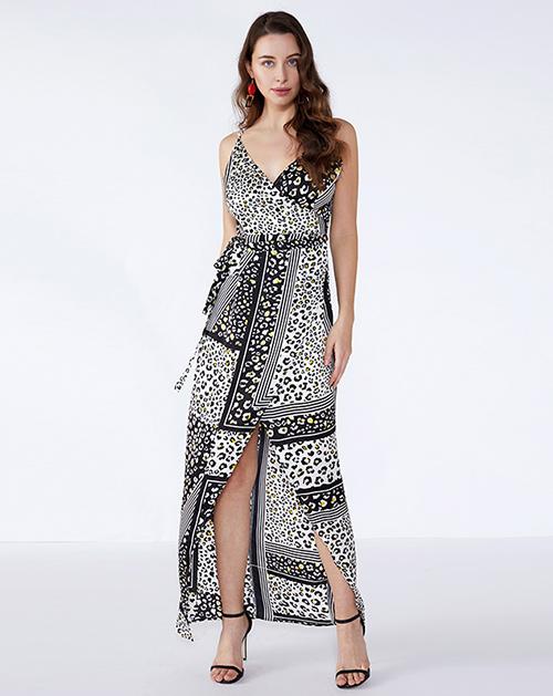 广州女装工厂系带开衩豹纹吊带连衣裙