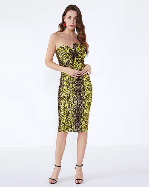 女装生产厂家蝴蝶结修身豹纹抹胸连衣裙
