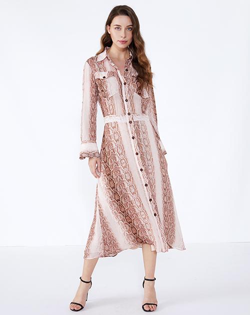 女装服装厂蛇纹长袖衬衫连衣裙