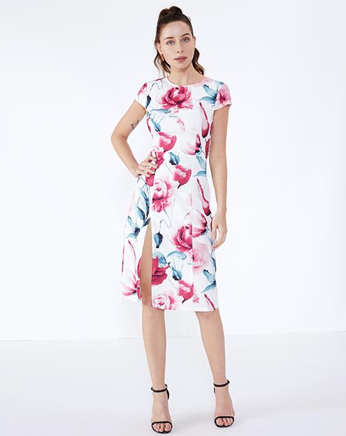 广州连衣裙厂家圆领开衩印花连衣裙