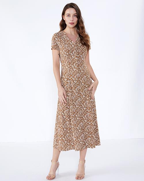 女装贴牌V领收腰碎花连衣裙长裙