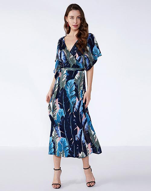 服装加工厂V领图案系带雪纺连衣裙长裙