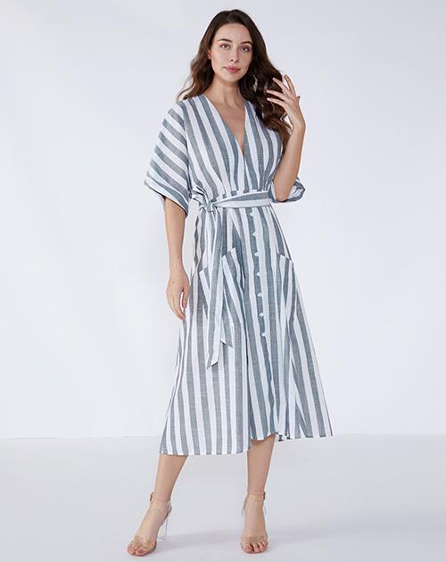 广州外贸服装厂V领系带棉麻条纹连衣裙