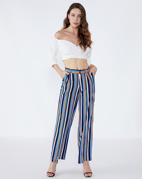 女装生产厂家高腰彩色条纹阔腿裤