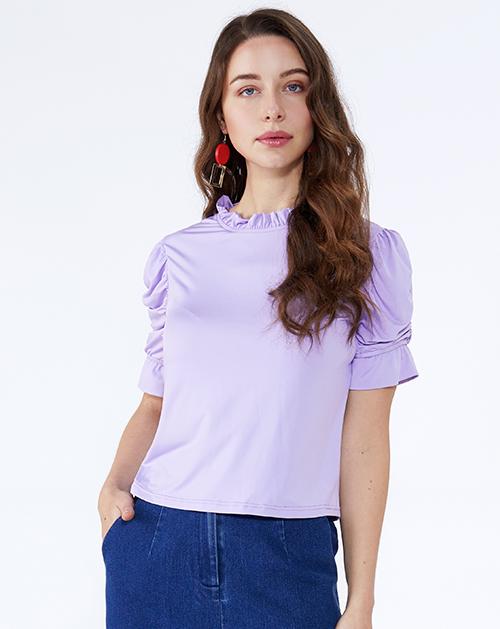 女装厂立领荷叶边喇叭袖T恤上衣