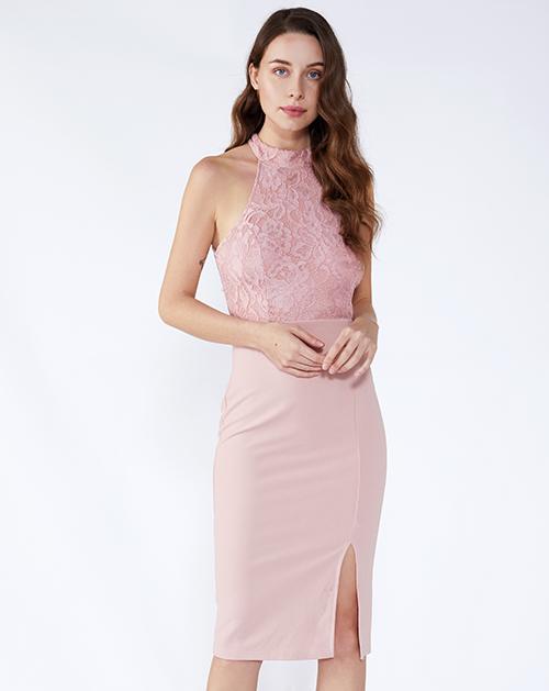 服装贴牌厂家立领无袖开衩拼接蕾丝连衣裙