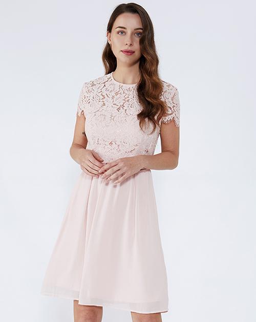 女装生产厂家圆领蕾丝拼接连衣裙