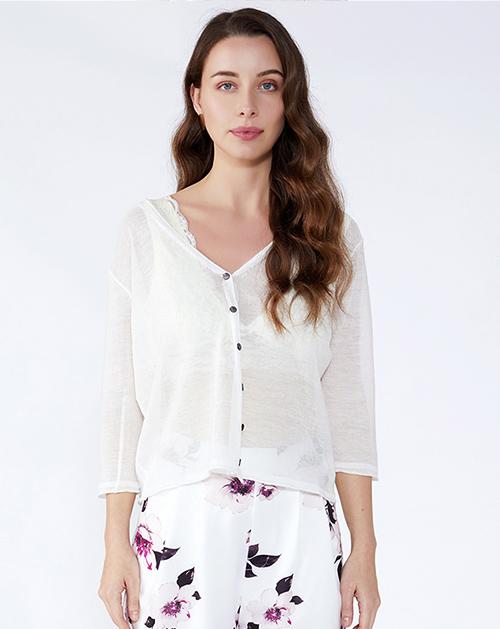 女装服装厂V领纽扣针织开衫上衣