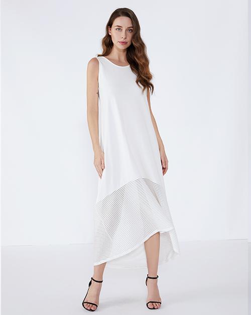 女装厂圆领拼接不规则背心连衣裙