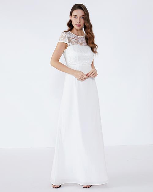女装厂透视蕾丝拼接连衣裙长裙