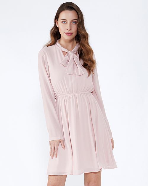 服装厂衣服厂蝴蝶结系带长袖雪纺连衣裙
