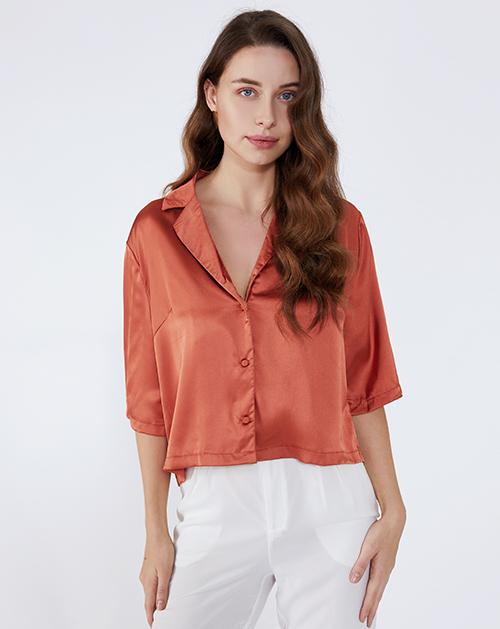 服装贴牌厂家衬衫领缎面宽松衬衫上衣