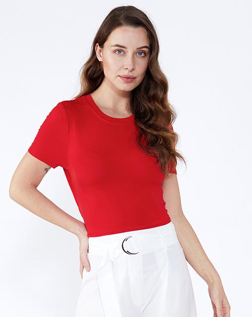 广州女装工厂圆领短款漏背T恤上衣
