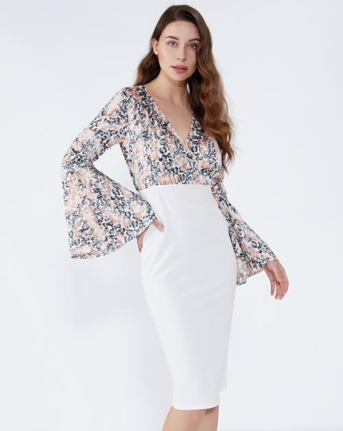 女装服装厂V领喇叭袖豹纹拼接连衣裙