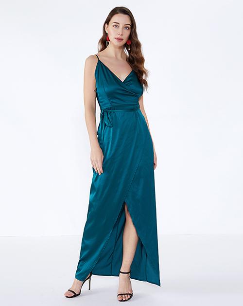广州女装工厂吊带系带缎面开衩连衣裙
