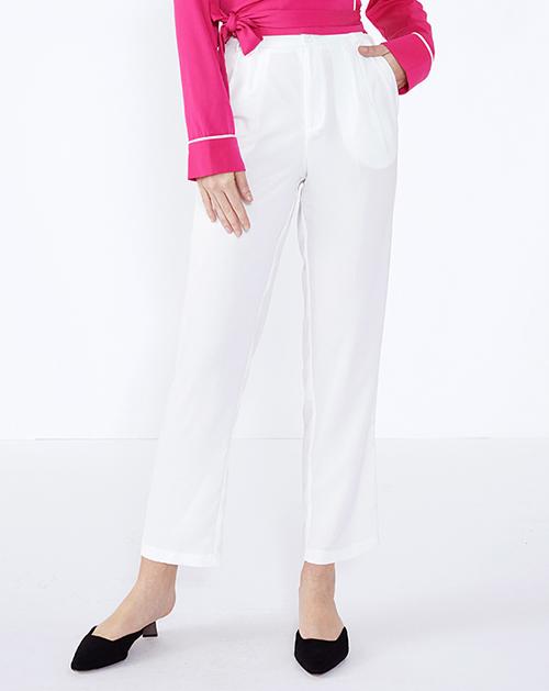 广州外贸服装厂白色高腰九分裤西裤
