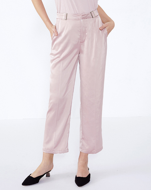 女装生产厂家高腰粉色九分西裤休闲裤