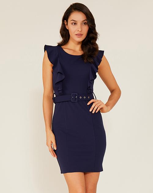 女装生产厂家圆领飞袖荷叶边修身连衣裙