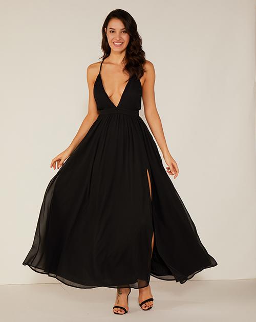 V领漏背吊带开衩雪纺连衣裙长裙
