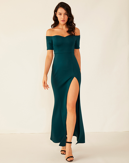 广州服装制造厂一字肩开衩收腰连衣裙长裙