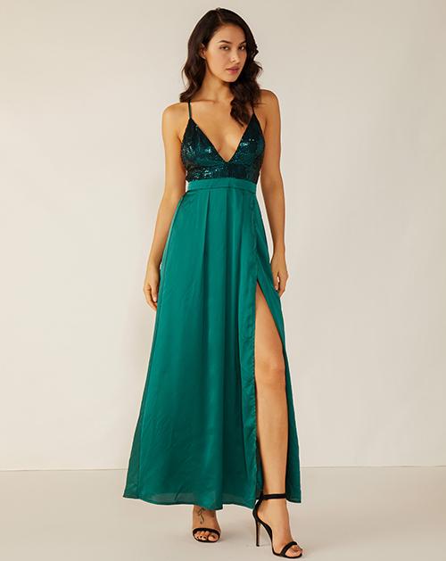 女装贴牌亮片拼接缎面开衩吊带连衣裙
