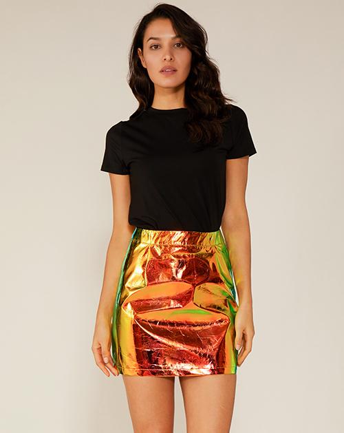 外贸服装工厂高腰镭射半身裙
