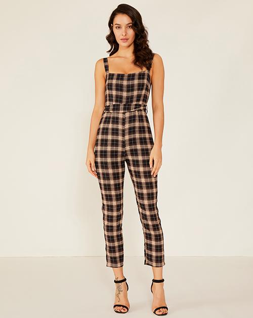女装服装厂格子高腰吊带连体裤