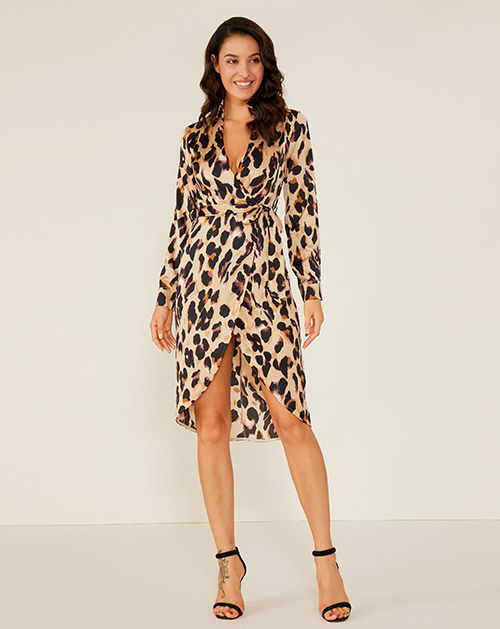 服装贴牌厂家V领系带不规则豹纹连衣裙