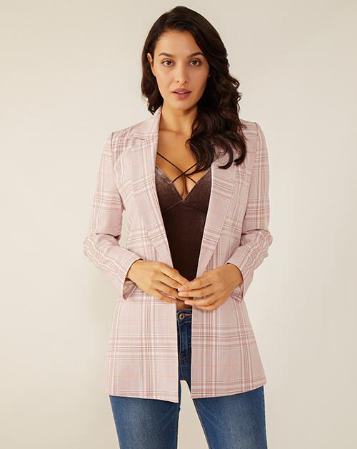 女装生产厂家格子西装外套