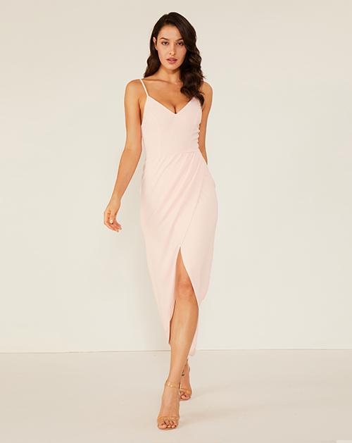 女装服装厂V领开衩吊带连衣裙