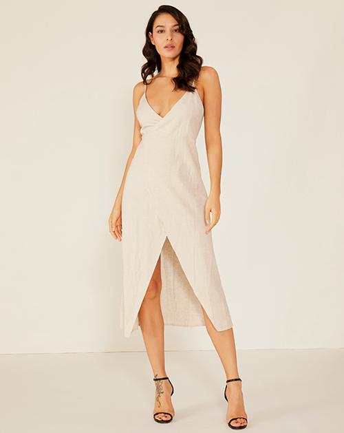 女装贴牌V领棉麻系带开衩连衣裙