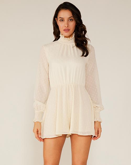 女装厂打揽立领波点雪纺连衣裙