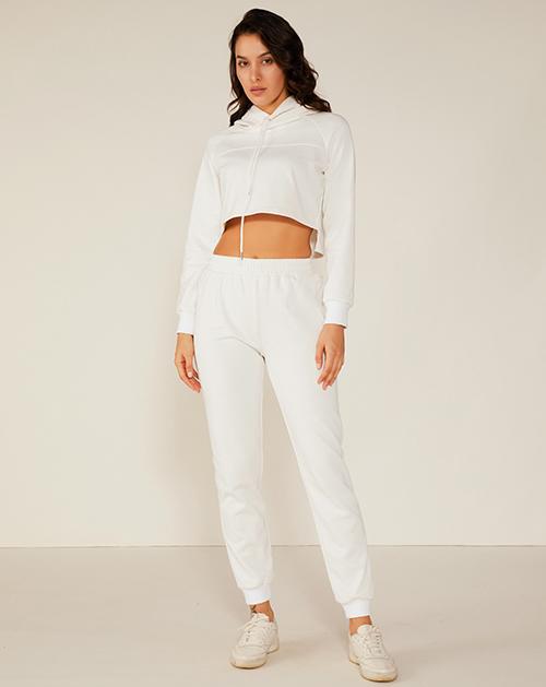 外贸服装工厂白色短款连帽卫衣运动套装