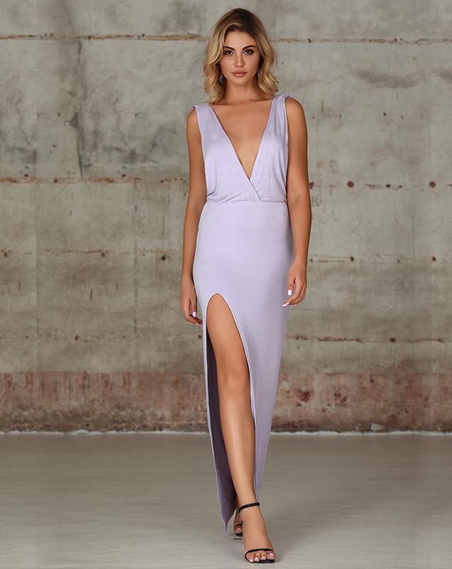 欧美女装连衣裙工厂V领开叉长款连衣裙